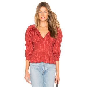 C/meo Collective Vices Red Puff PolkaDot Top